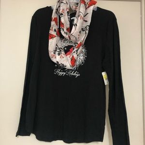 NWT Holiday Top With Wrap Detachable Scarf  3X